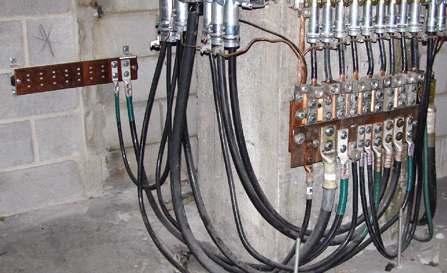 FIGURE 3. The main grounding bar at One Summer Street is a 3-ft by 1-ft copper plate located in the subbasement.