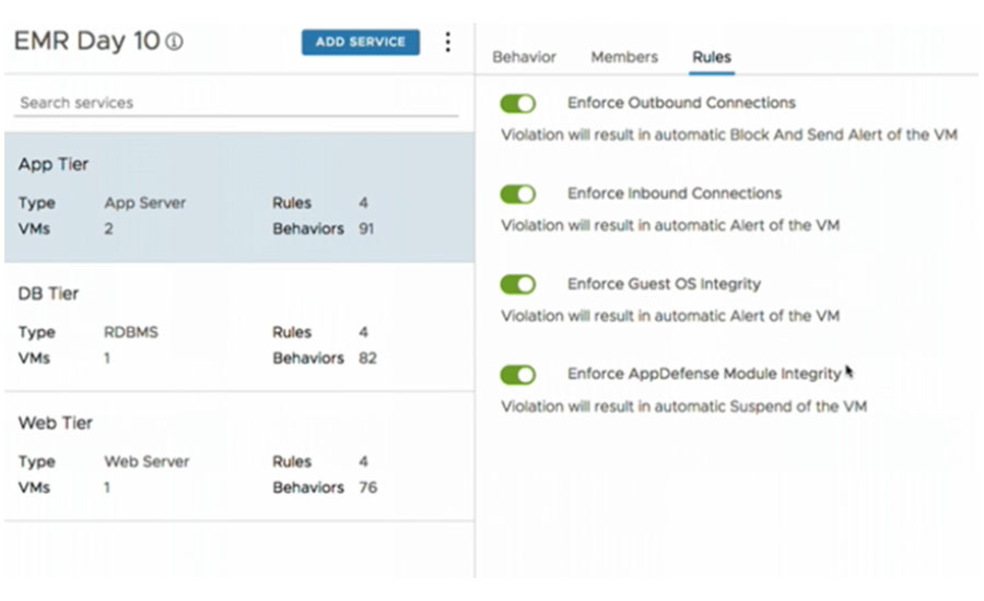 A screen shot of VMware's AppDefense