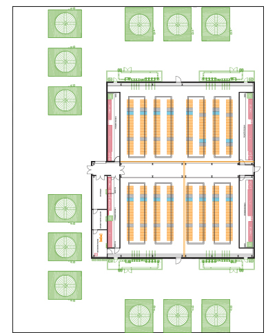 Floor plan for a 10-MW facility supporting about 300 high-density racks