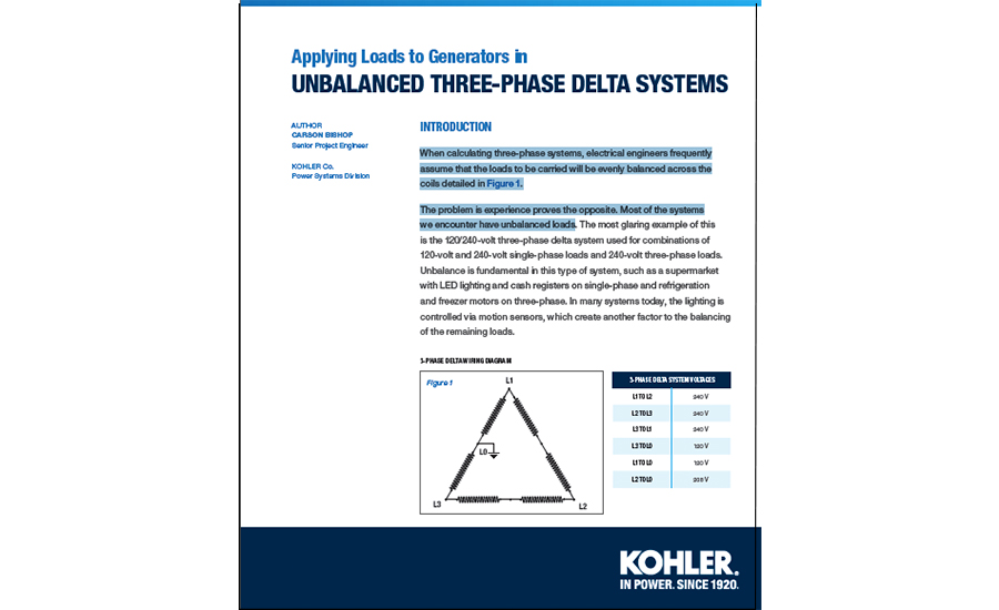 Kohler- Applying Loads to Generators; Unbalanced three- phase Delta Systems
